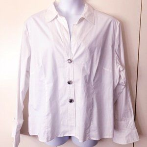 NWOT Spense Woman Blouse 3X White V Neck Rhineston